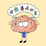 Cute human brain in tie, tired at office work. royalty free illustration