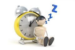 Cute human sleep in clock Royalty Free Stock Photos