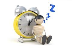 Cute Human Sleep In Clock Royalty Free Stock Photos