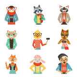 Cute humanized animals in modern and fashionable clothes set of vector Illustrations Royalty Free Stock Photography