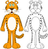 Cute Humanoid Tiger With Lineart Stock Photography