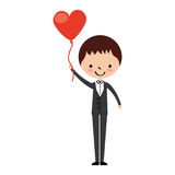 Cute husband with heart shaped pumps avatar character Royalty Free Stock Photo