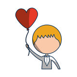 Cute husband with heart shaped pumps avatar character Royalty Free Stock Photography