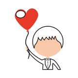 Cute husband with heart shaped pumps avatar character Stock Image