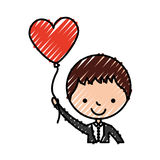 Cute husband with heart shaped pumps avatar character Royalty Free Stock Photos