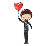 Cute husband with heart shaped pumps avatar character Stock Photo