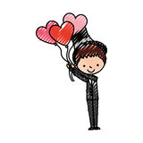 Cute husband with heart shaped pumps avatar character Stock Photography