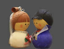 Cute husband and wife dolls Royalty Free Stock Image