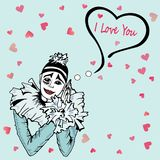 Cute I Love You Card with hand drawn Pierrot isolated on blue background. Stock Photography