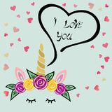 Cute I love You card with Unicorn tiara and horn on blue background Royalty Free Stock Images