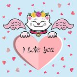 Cute I Love You Card with white Cat, pink wings, sweet heart. Stock Photo