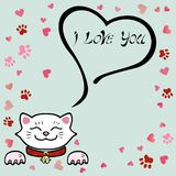 Cute I Love You Card with white Cat. Stock Images
