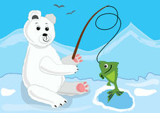 Cute ice bear fishing in the icy polar landscape with mountains Royalty Free Stock Image