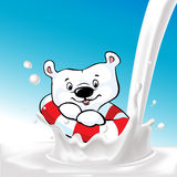 Cute ice bear swim on milk splash - vector Royalty Free Stock Image