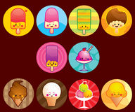 Cute Ice cream buttons. A button series of cute ice cream, all object are separated in different layer (CMYK Mode Stock Images