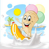 Cute ice cream cartoon surfing on milk splash, summer beach background - vector Stock Photo