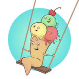 Cute ice cream character on a swing Stock Photography