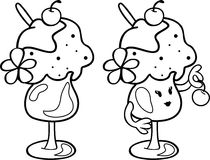 Cute Ice Cream with cherry. Character. Simple Line Drawing. It can be use for children's coloring. Royalty Free Stock Photo
