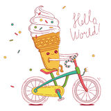 Cute ice-cream cone rides a bicycl Stock Photos