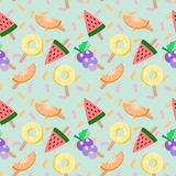 Cute ice-cream tropical fruits vector illustration. Tropical fruits seamless pattern. Summer and freshness concept. Cute ice-cream tropical fruits vector stock illustration