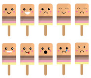 Cute Ice Lolly Faces with Expressions Royalty Free Stock Image