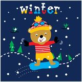 Cute ice skating bear animal cartoon vector royalty free illustration