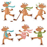 Cute ice skating deers set Royalty Free Stock Photo