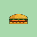 Cute icon cheeseburger. Cute cartoon cheeseburger with double cheese. Burger with salad, tomatos, cutlet Royalty Free Stock Photography