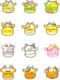 Cute icon cow. Vector icon illustration of cow Royalty Free Stock Photo