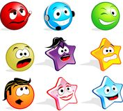 Cute Icon Faces. Icon faces as avatars or emoticons Stock Images