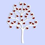 Cute icon love tree with hearts on a blue background. template Stock Photo