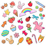 Cute icons. Collection of cute colorful icons Stock Images