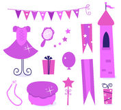 Cute icons for little princess Party. Royalty Free Stock Photo
