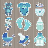 Cute  icons for newborn baby boy.Strips background Royalty Free Stock Photos