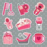 Cute icons for newborn baby girl. Polka dot  background Royalty Free Stock Photo