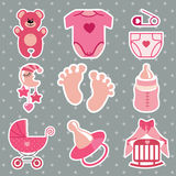 Cute  icons for newborn baby girl.Polka dot background Royalty Free Stock Images