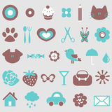 Cute icons set Royalty Free Stock Image