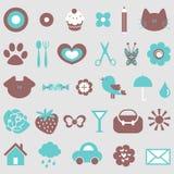 Cute icons set vector illustration