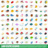 100 cute icons set, isometric 3d style. 100 cute icons set in isometric 3d style for any design vector illustration Royalty Free Stock Photos