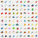 100 cute icons set, isometric 3d style. 100 cute icons set in isometric 3d style for any design vector illustration Royalty Free Stock Image