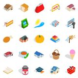 Cute icons set, isometric style. Cute icons set. Isometric set of 25 cute vector icons for web isolated on white background Royalty Free Stock Photos