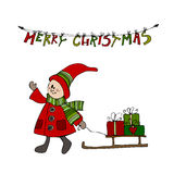 Cute illustrated Christmas elf Royalty Free Stock Photo