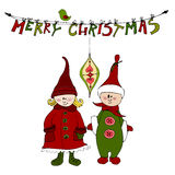 Cute illustrated Christmas elves Royalty Free Stock Image