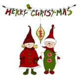 Cute illustrated Christmas elves. Vector cute Christmas card design with illustrated Christmas elves stock illustration
