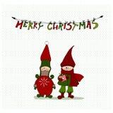 Cute illustrated Christmas elves. Vector illustrated Christmas cards design with cute elves vector illustration