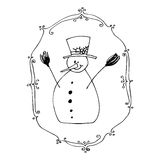 Cute illustrated snowman Royalty Free Stock Photos