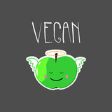 Cute illustration with angel apple and VEGAN word. Handwritten quote. VEctor illustration. Useful for t-shirts and logo Royalty Free Stock Photography