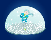 Cute illustration of an angel in a snowglobe Stock Photo