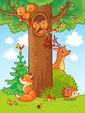 Cute  illustration with animals. Royalty Free Stock Images