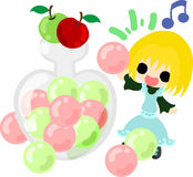 The cute illustration of an apple and a girl Stock Photo